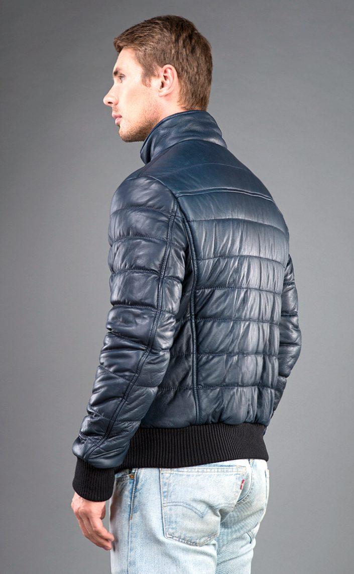 мужская синяя кожаная куртка AFG на синтепоне