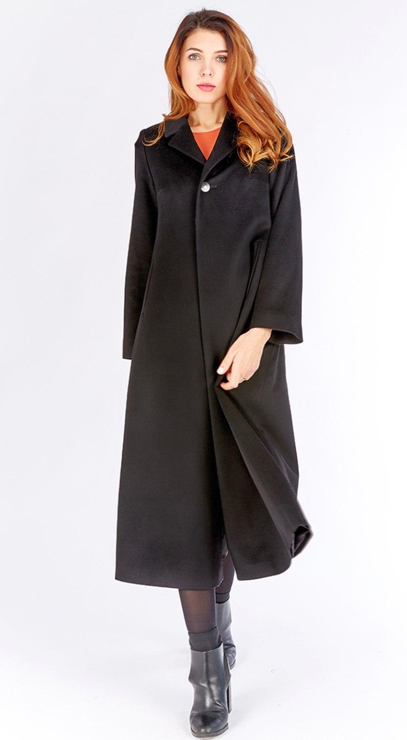 линное женское пальто на большой рост из 100% шерсти